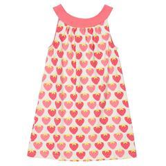 φόρεμα παιδικό με φράουλες από οργανικό βαμβάκι