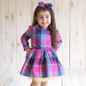 Φόρεμα καρό φούξια με κίτρινο φρου-φρου Pixy Love 432a76d163f