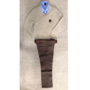 Σετ μπεζ πουλόβερ με πουκάμισο και παντελόνι f84ac81bc04