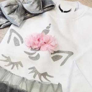 Μπλούζα βαμβακερή λευκή με ασημί μονόκερο fa1ecd02128