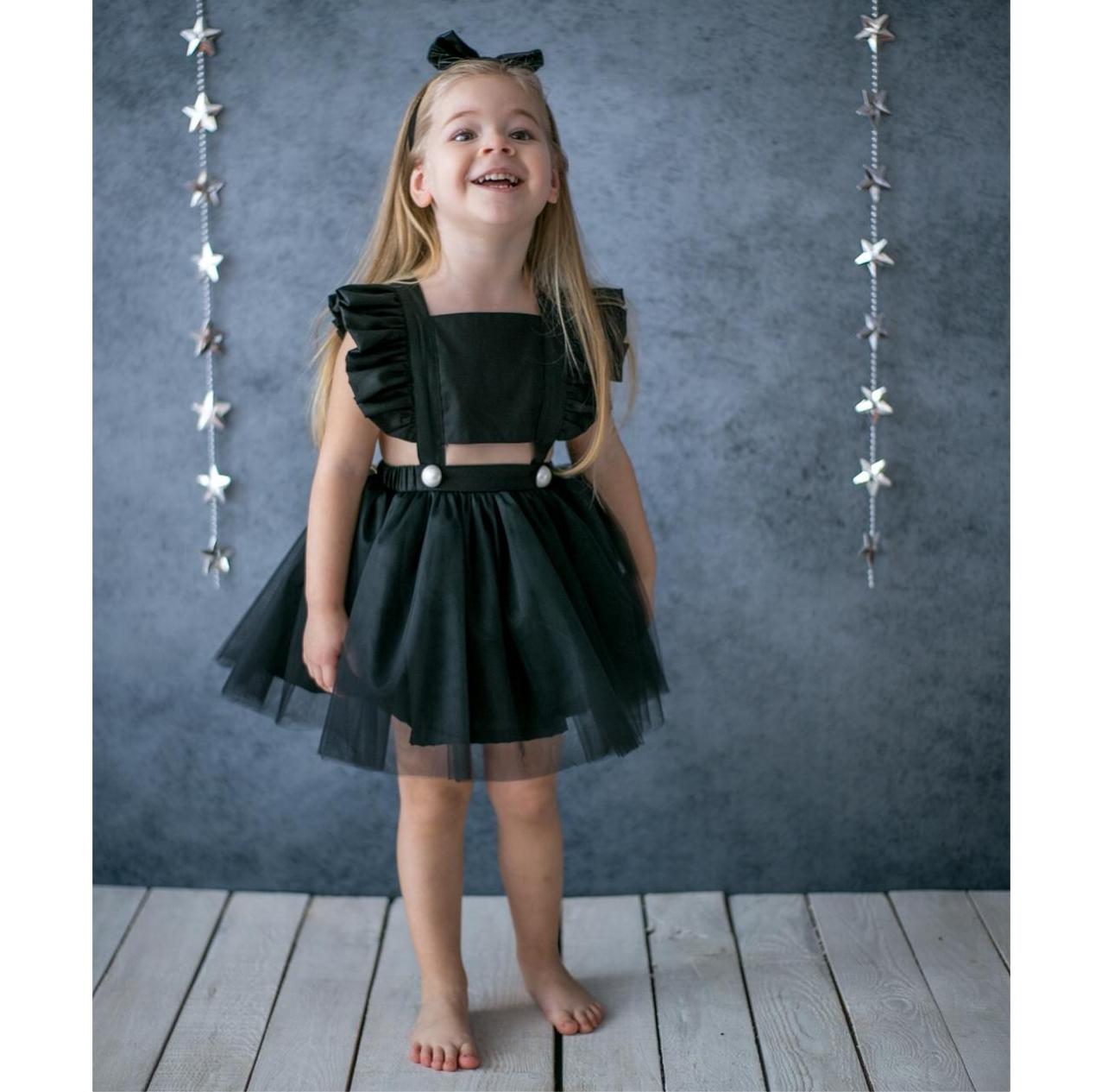 f7ecde9314c Μαύρο cut out παιδικό φόρεμα Pixy Love με ανοιχτή πλάτη.
